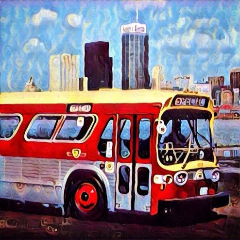 TTC bus from the 1970s against the skyline of Toronto