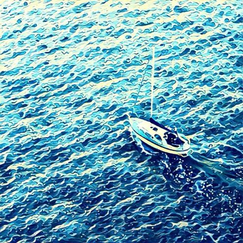 Prisma filter of a sailboat in Vigo Spain harbour, Great Wave of Kanawa