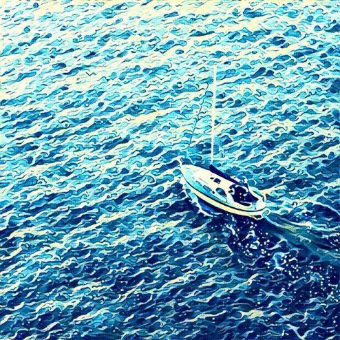 Prisma filter of a sailboat in Vigo Spain harbour, Great Wave of Kanawa