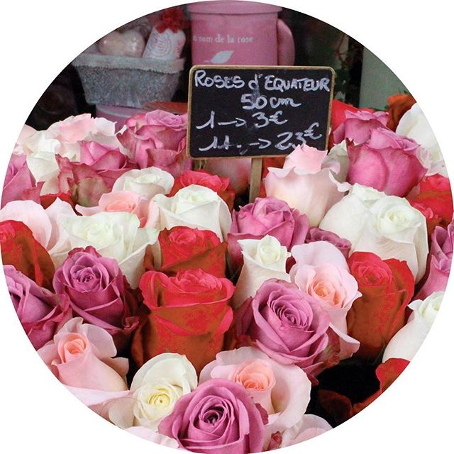 Bouquets of roses at the Paris Marché aux Fleurs
