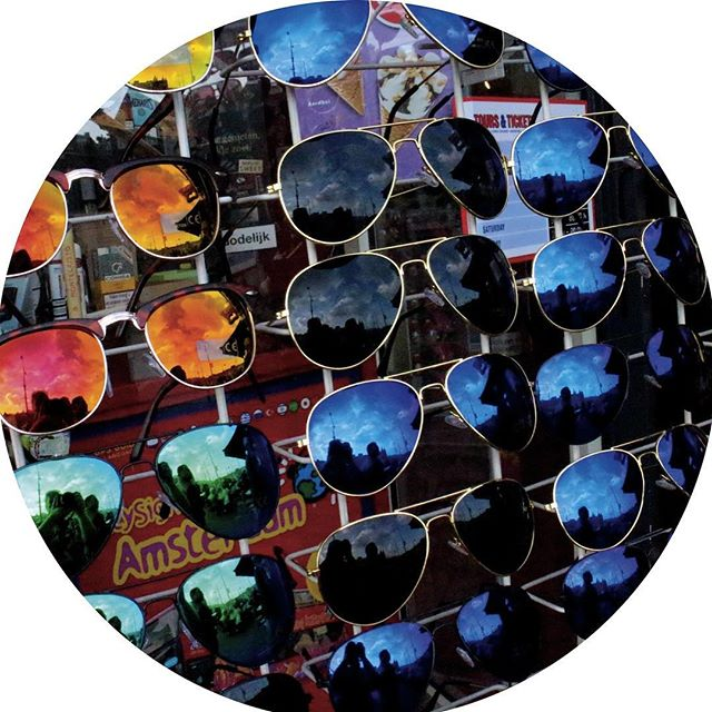 A selection of sunglasses at an Amsterdam tourist trap