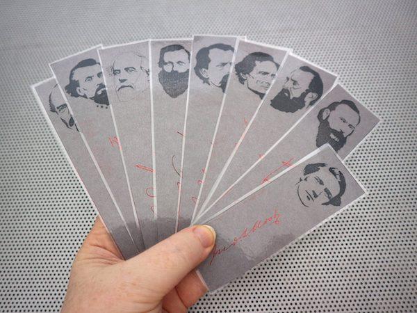 American Civil War / Heroes of the Confederacy / set of 9 handmade historical bookmarks / Forrest Davis Robert E Lee Stonewall Jackson JEB