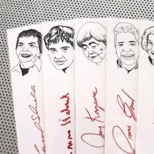 Canadian Women Poets bookmarks set of 9 / Poetry writers authors of women portraits Atwood Hebert Smart Joe Joy Shields book mark red white