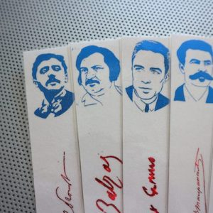 French Novelists bookmarks set of 9 portraits great classical authors novels poets blue and red book marks Hugo Camus Flaubert Proust