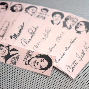 Civil Rights women bookmarks / set of nine handmade African American portraits Black activists book mark Rosa Parks black blush pink