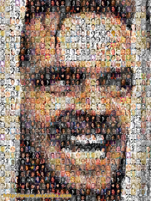 Many Faces Mosaic Made From
