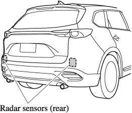 The radar sensors (rear) are installed inside the rear