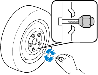 Do not apply oil or grease to lug nuts and bolts and do