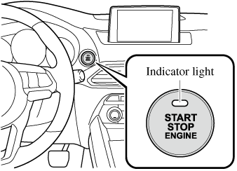 The engine starts by pressing the push button start while
