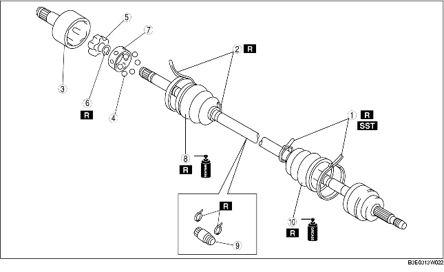 DRIVE SHAFT (DOUBLE OFFSET JOINT) DISASSEMBLY/ASSEMBLY