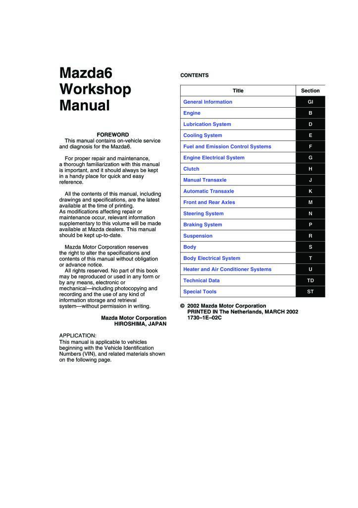 mazda 6 gg 2007 full workshop manual.pdf (17.8 MB)