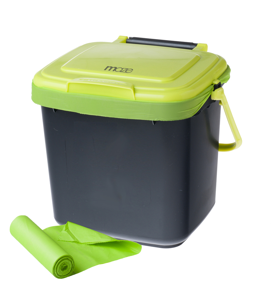 kitchen caddy interactive designer 7lt with 50 x compostable bags maze products image