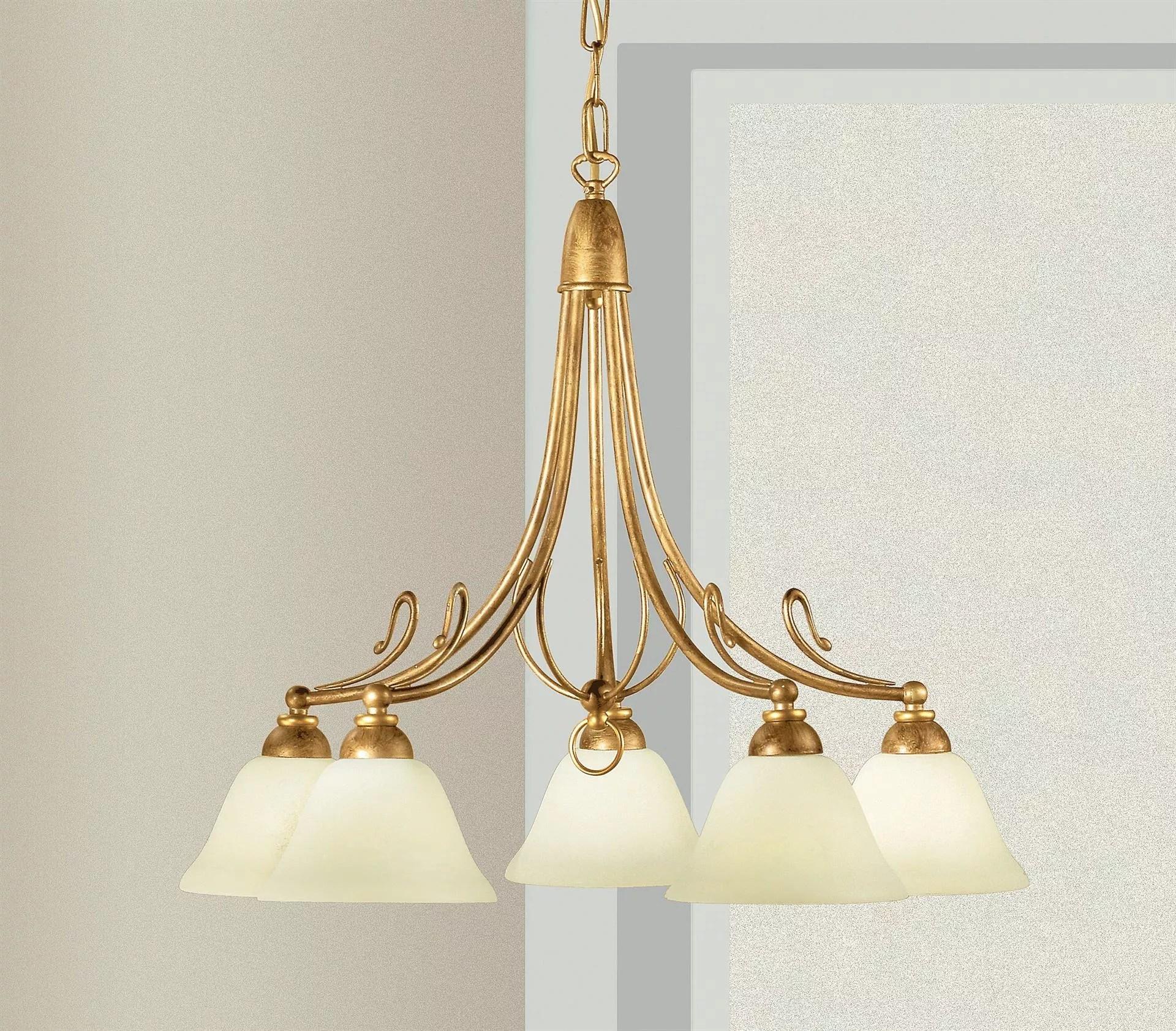Infatti spesso sostituisce i lampadari, sia classici che moderni. Lampadario Classico Ferro Battuto Decoro Oro 5 Luci Per Soggiorno 2383 5 01