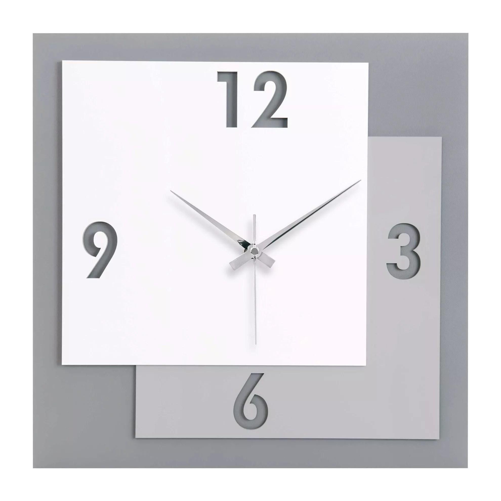 Orologio moderno con uccellini lineasette ceramiche orologi da parete e appoggio. Orologio Da Parete Numeri Moderni Quadrato Legno Bianco Grigio Me1676g