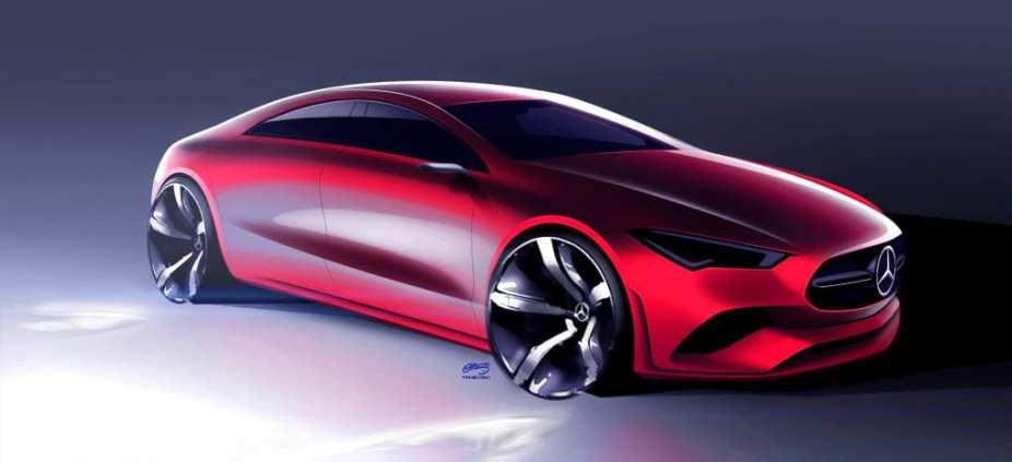 Mercedes-Benz CLA, Designzeichnung, Rendering Mercedes-Benz CLA, design sketch, Rendering