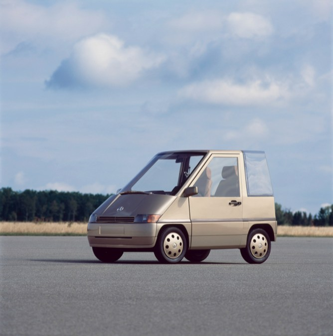 Ein Fall für zwei: Das NAFA zeigt bereits 1982, wie eine automobile Lösung für urbane Automobilität aussehen kann.