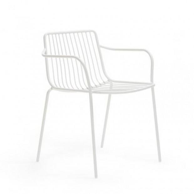 chaise d exterieur nolita 3655 en acier avec 4 pieds et accoudoirs