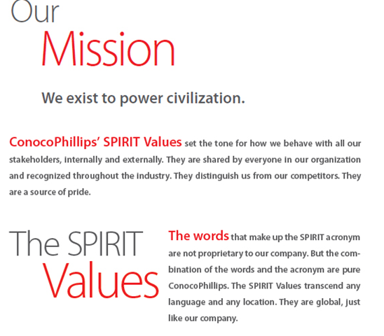ConocoPhillips Vision & Mission Statement