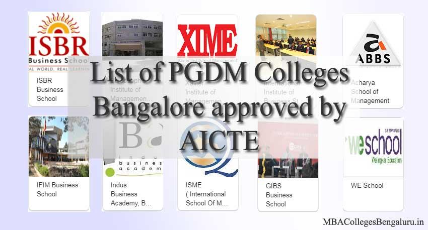 List PGDM Colleges Bangalore AICTE