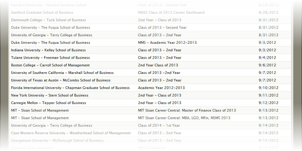 MBA resume book release dates for 2012-2013 MBA recruiting