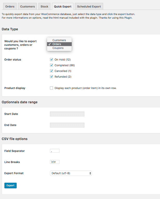 WooCommerce Quick Export Plugin - 1