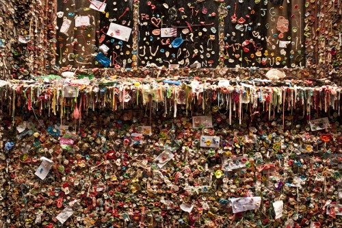 Seattle, Washington State, USA --- Pike Place market with close-ups of gum wall down alley in Post Alley Seattle Washington State --- Image by © Philip James Corwin/Corbis