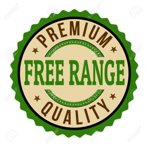 Free range label on white background, vector illustration