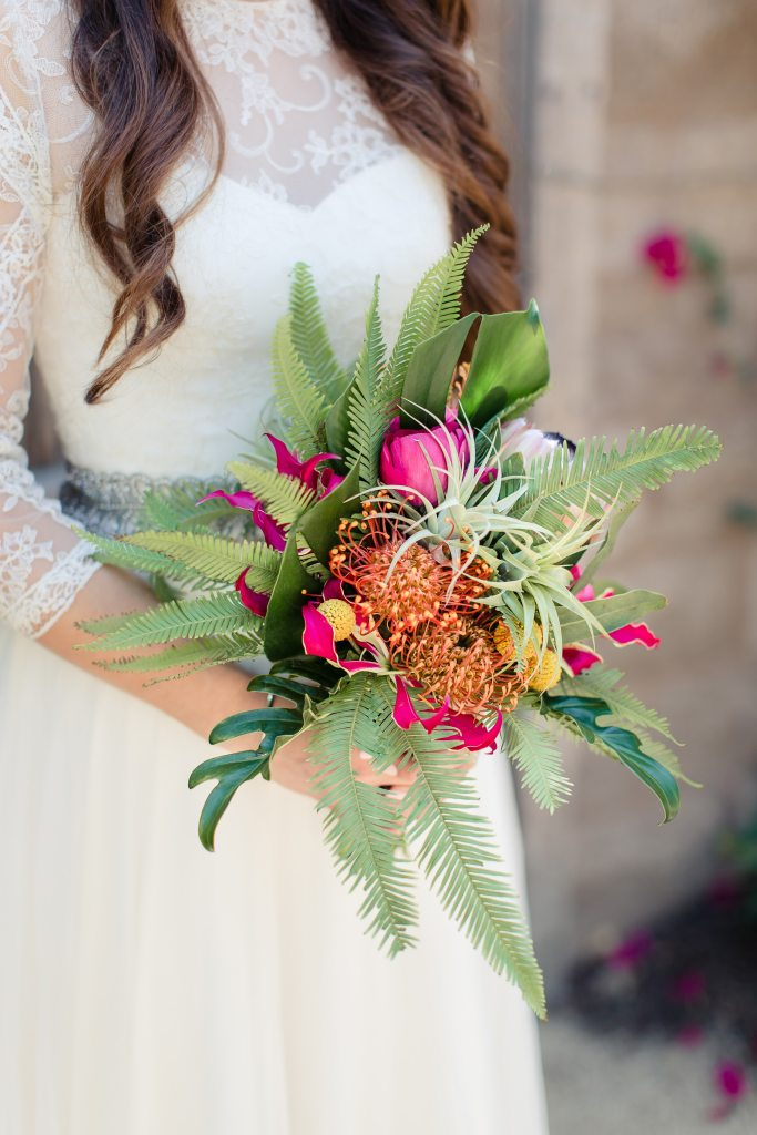 Bride with Bouquet at Catalina View Gardens | Catered by Made By Meg