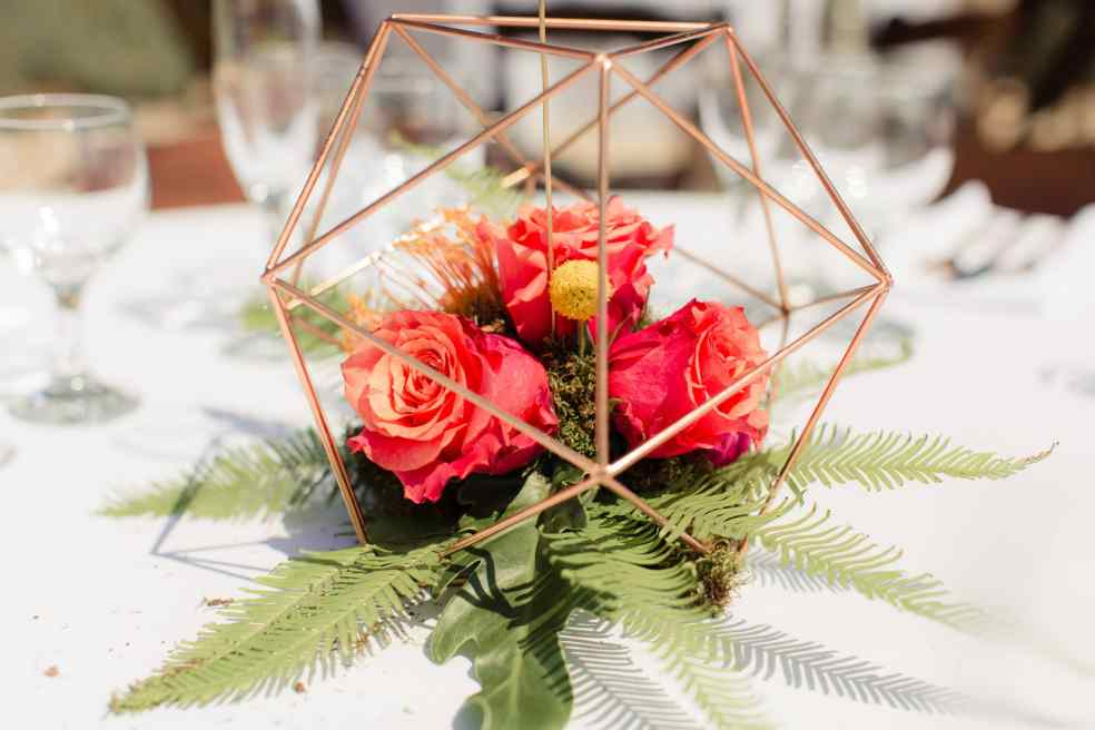 Catalina View Gardens Wedding Reception Centerpiece | Catered by Made By Meg