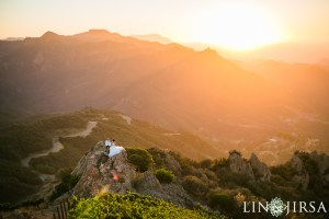 Bird's Eye View of Bride and Groom at Malibu Rocky Oaks Vineyards