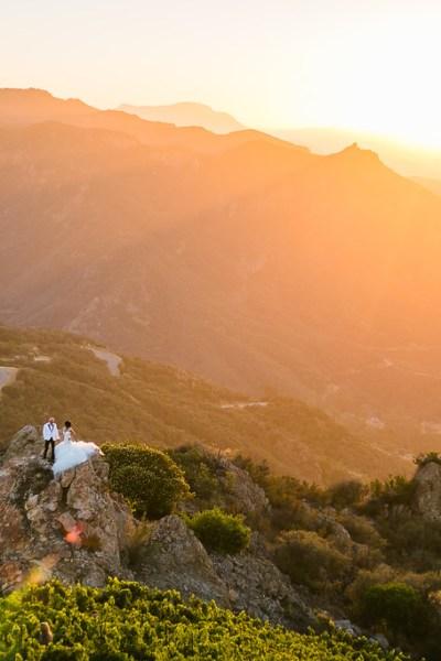 Bird's Eye View of Bride and Groom at Malibu Rocky Oaks Vineyards