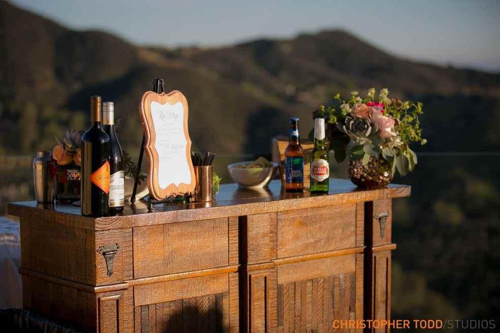 Bar Station at Malibu Rocky Oaks Wedding | Catered by Made By Meg