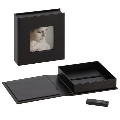 deknudt boite de rangement pour cle usb photos en simili cuir noir cle usb vendue separement
