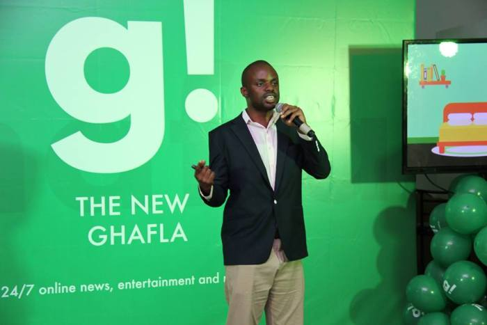 Samuel Majani, Founder and CEO at Ghafla! speaking during the sites relaunch after a deal with Ringier Africa Digital Publishing (RADP)