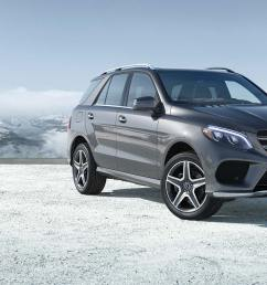 a grey 2019 gle 400 suv parked in front of snow covered mountains  [ 2400 x 900 Pixel ]