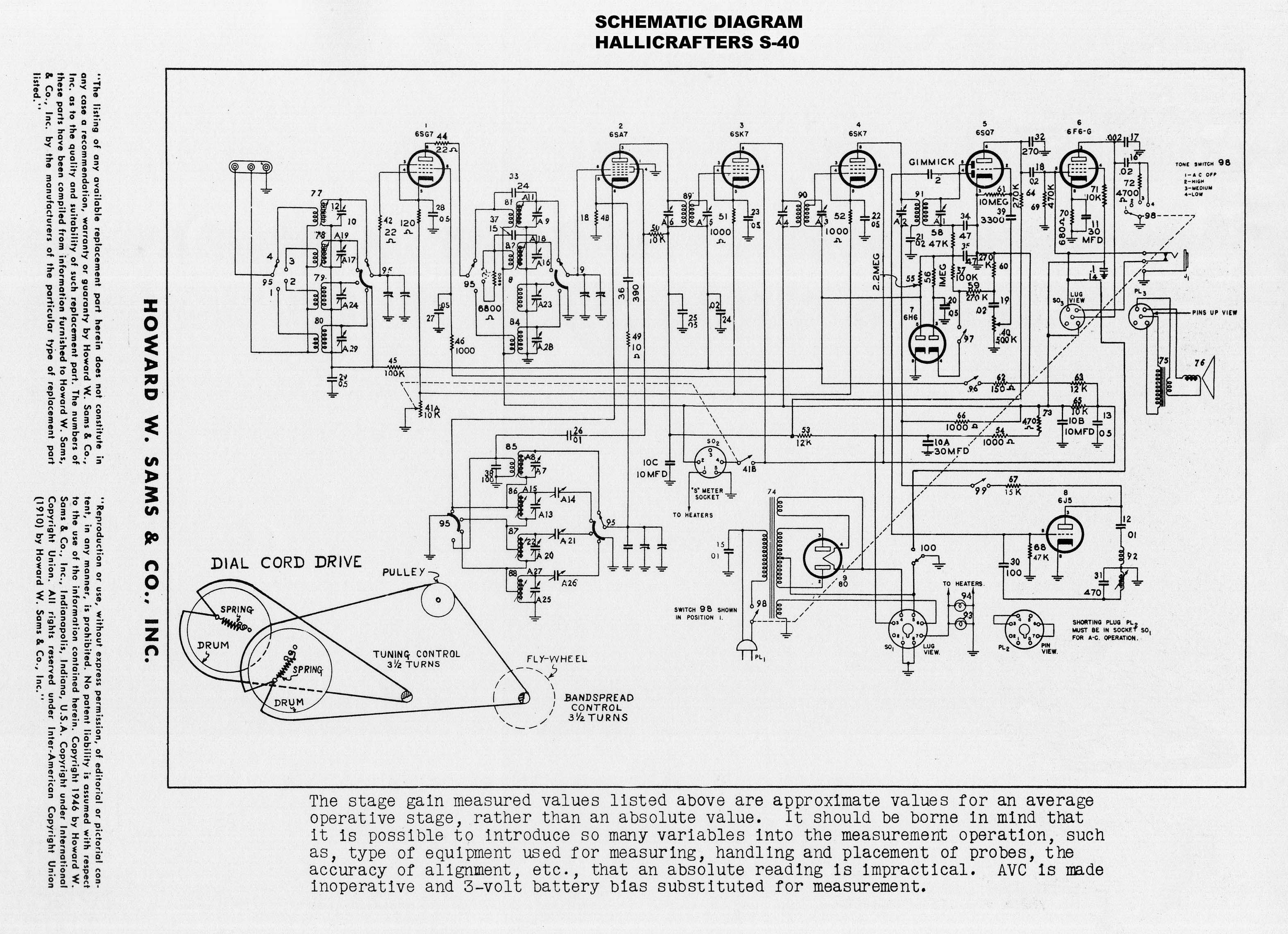 dta s40 wiring diagram capacitor 1946 1949 hallicrafters quotmodel s 40 quot general coverage
