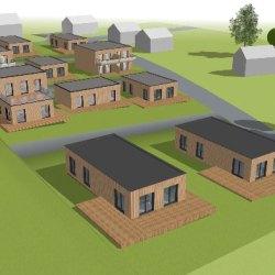 McCube-City Scheibbs Rendering Häuser Pachtgrund