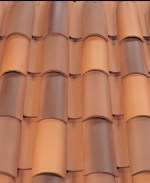 Corona Tapered two piece clay roof tile, B308 Canyon Red Blend.