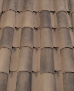 Corona Tapered two piece clay roof tile, B317-R Taupe Smoke Blend.