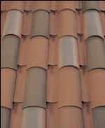Corona Tapered two piece clay roof tile, B323 Ironwood Blend.