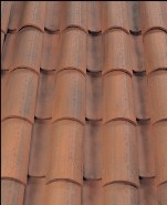 Corona Tapered two piece clay roof tile, B340-R Vintage Red Blend.