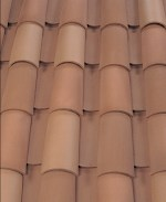 Corona Tapered two piece clay roof tile, B341 Carmel Blend.