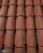 Corona Tapered two piece clay roof tile, 2F43-SSC Villa Rossa Blend.