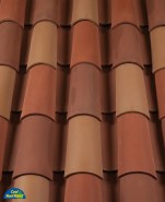 Classic Tapered 2-piece mission clay roof tile, B341 Carmel Blend