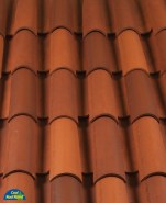 Classic Tapered 2-piece mission clay roof tile, CB22SM-R Burnt Sienna Modified Blend