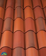 Classic S Mission clay roof tile in B301 Old Mission Blend®.