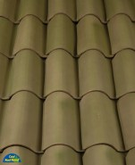 Classic S Mission clay roof tile, B305 Weathered Green Blend®.