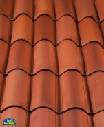 Classic S Mission clay roof tile in B308 Canyon Red Blend.