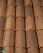Classic S Mission clay roof tile, B331-R Zorro Blend.