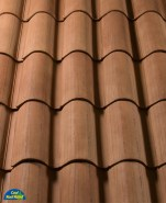 Classic S Mission clay roof tile, CB2F3445-SC Chocolate Mocca Blend.